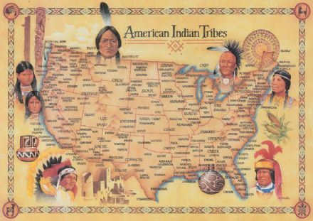 American Indian Tribes Map Art Print/Poster. Sizes: A4/A3/A2/A1 (00924)